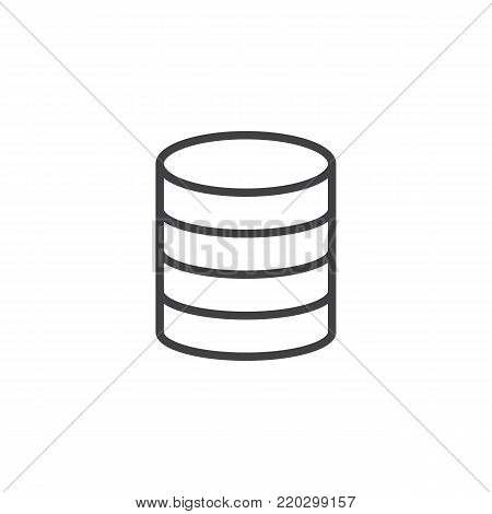 Virtual database storage line icon, outline vector sign, linear style pictogram isolated on white. Server storage symbol, logo illustration. Editable stroke
