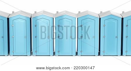 Row with portable plastic toilets on white background, front view, 3D illustration