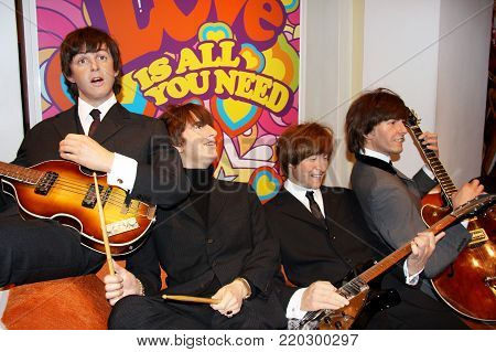 London, - United Kingdom, 08, July 2014. Madame Tussauds in London. Waxwork statue of the Beatles