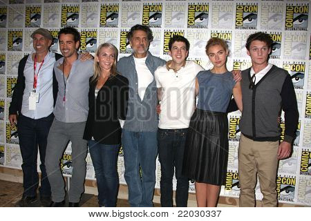 SAN DIEGO - JUL 22: Gillespie, Colin Farrell, Marti Noxon, Sarandon, Mintz-Plasse, Imogen Poots, Anton Yelchin at the 2011 Comic-Con at SD Convention Center on July 22, 2010 in San Diego, CA.