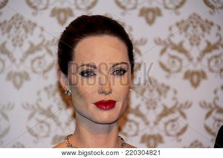 London, - United Kingdom, 08, July 2014. Madame Tussauds in London. Waxwork statue of Angelina Jolie.