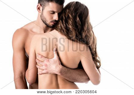 back view of young sensual naked couple isolated on white