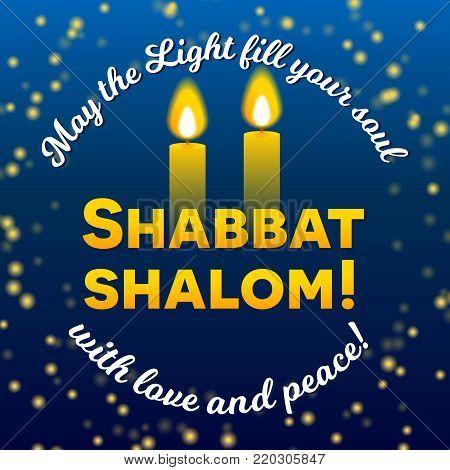 Shabbat shalom vector photo free trial bigstock shabbat shalom lettering greeting card vector illustration two burning shabbat candles and bokeh m4hsunfo