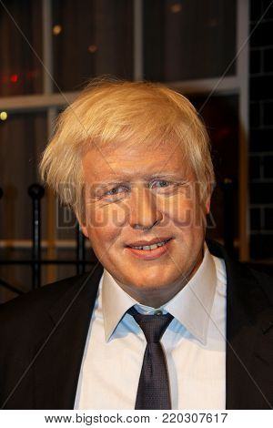 London, - United Kingdom, 08, July 2014. Madame Tussauds in London. Waxwork statue of Boris Johnson .