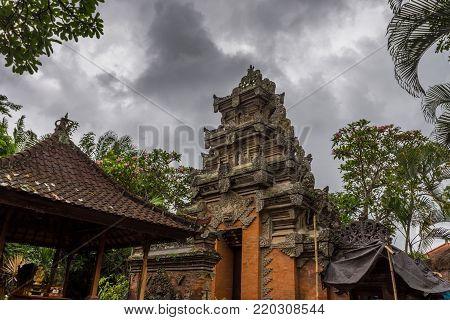 Indonesia Bali Ubud Palace rainy day traditional