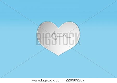 white heart paper design style icon. concept heartbeat pulse measurement defibrillator Vector illustration
