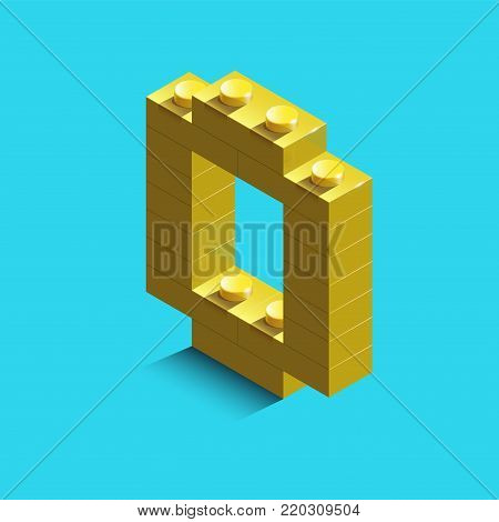 Yellow number zero from constructor bricks on blue background. 3d  number zero