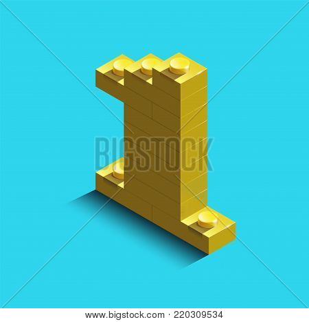 Yellow number one from constructor bricks on blue background. 3d  number one