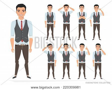 Set of emotions for asian business man.Young eastern male in a cartoon style experiences different emotions.