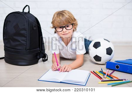 cute little school boy in glasses doing homework