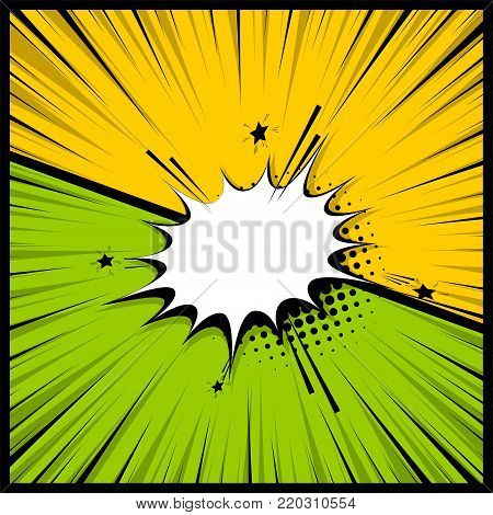 Pop art colorful backdrop mock up. Comics book empty colored template background. Vector illustration halftone dot chat mockup versus comic text. Silhouette boom explosion. Speech bubble box balloon.