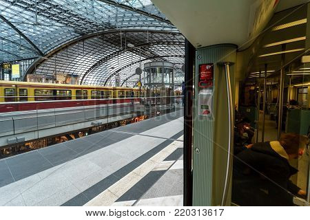 BERLIN - DECEMBER 21, 2017: Berlin Central Station. The central station of Berlin - the largest and modern railway station of Europe.