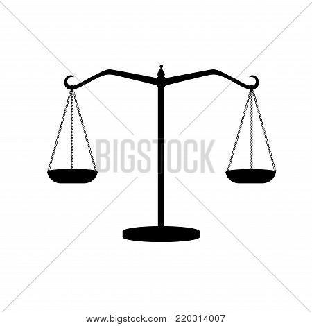 silhouette of antique weights. Libra. Scales of justice. Vector