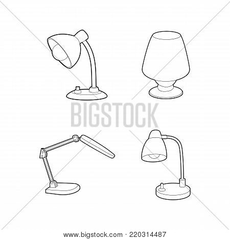 Desk lamp icon set. Outline set of desk lamp vector icons for web design isolated on white background