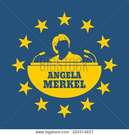 Germany - Circa, 2017: An illustration of a portrait of german chancellor Angela Merkel portrait. Frame from stars