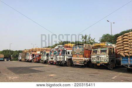 Agra, India - Nov 5, 2017. Truck trailers on rest area in Agra, India. Agra is one of the most populous cities in Uttar Pradesh, and the 24th most populous in India.