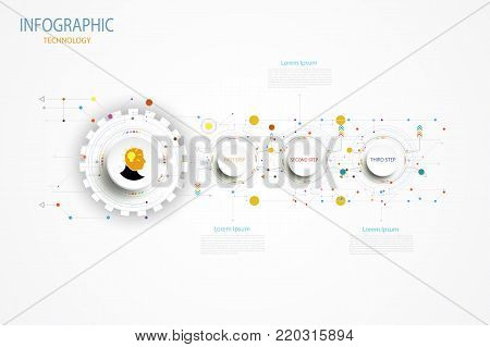 Infographic technology template timeline hi-tech digital and engineering telecoms can be used for your business,book cover, layout, template, banner,diagram, Infographic presentation, Vector illustration