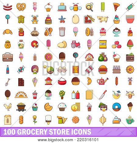 100 grocery store icons set. Cartoon illustration of 100 grocery store vector icons isolated on white background