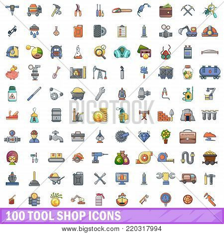100 tool shop icons set. Cartoon illustration of 100 tool shop vector icons isolated on white background