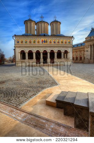 Famous religious Patriarchal church of Bucharest, spiritual edifice of Christian Orthodox, the most beautiful cathedral of Romania