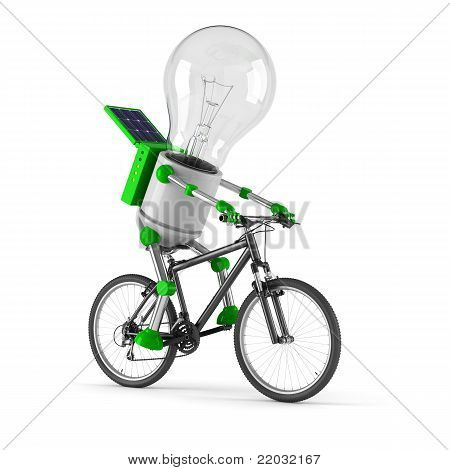 Solar Powered Light Bulb Robot - Cycling