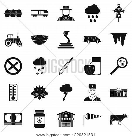 Tillage icons set. Simple set of 25 tillage vector icons for web isolated on white background