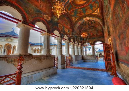 Artistic paintings with religious themes in the entrance hall of the patriarchal church in Bucharest, Romania, Eastern Europe