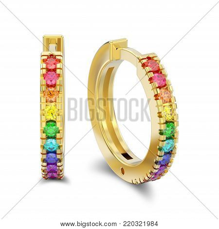 3D illustration isolated yellow gold decorative earrings hinged lock with colorful diamonds with shadow on a white background