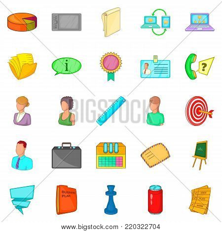 Place for work icons set. Cartoon set of 25 place for work vector icons for web isolated on white background