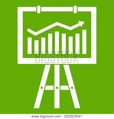Flipchart with marketing data icon white isolated on green background. Vector illustration