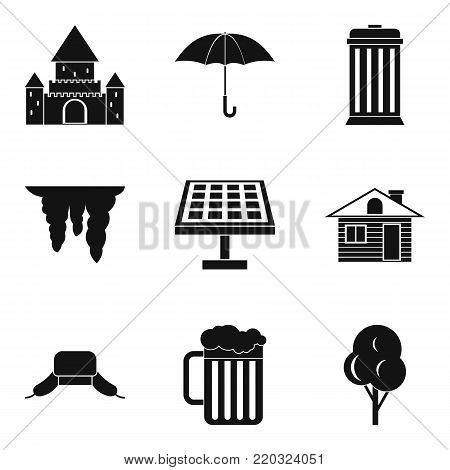 Detached house icons set. Simple set of 9 detached house vector icons for web isolated on white background