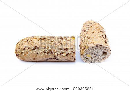 Whole grain bread isolated on a white background.