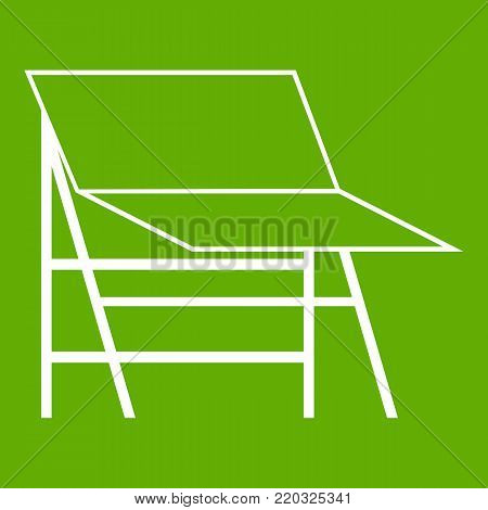 Blank portable screen icon white isolated on green background. Vector illustration
