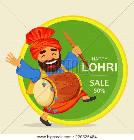 Popular winter Punjabi folk festival Lohri. Funny dancing Sikh man with drum celebrating holiday, cartoon character for sale, banner, poster. Vector illustration