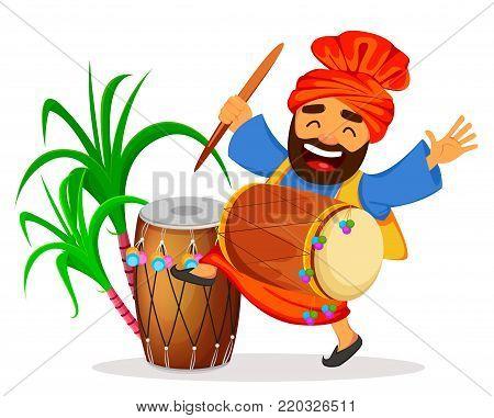 Popular winter Punjabi folk festival Lohri. Funny dancing Sikh man with drum and sugarcane celebrating holiday, cartoon character. Vector illustration