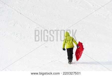 Young Boy With Sledge