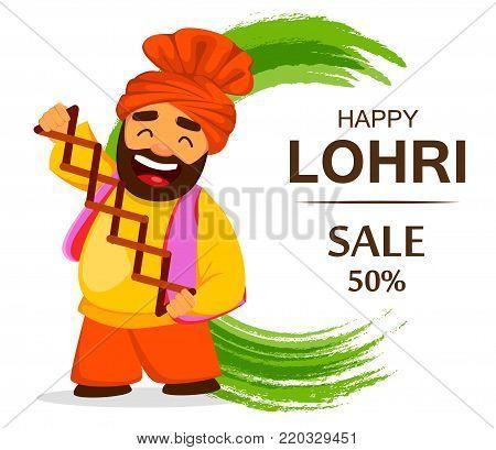 Popular winter Punjabi folk festival Lohri. Funny Sikh man celebrating holiday, cartoon character for sale, banner, poster. Vector illustration on abstract background