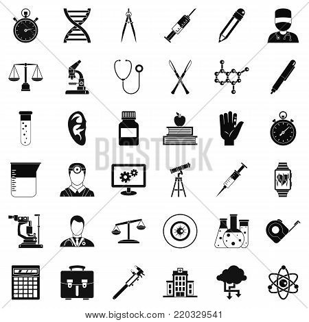 Microscope icons set. Simple style of 36 microscope vector icons for web isolated on white background