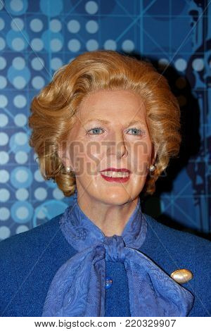 London, - United Kingdom, 08, July 2014. Madame Tussauds in London. Waxwork statue of Margaret Thatcher