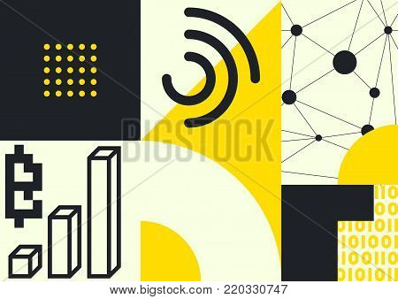 Vector abstract background, illustrative typography horizontal banner for Blockchain , cryptocurrencies , bitcoin and distributed ledger technology concept. Block chain , network connect