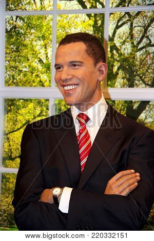 London, - United Kingdom, 08, July 2014. Madame Tussauds in London. Waxwork statue of President Barack Obama