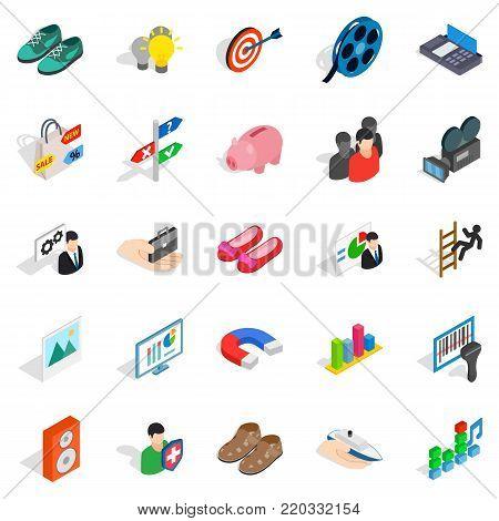 Clever advertising icons set. Isometric set of 25 clever advertising vector icons for web isolated on white background
