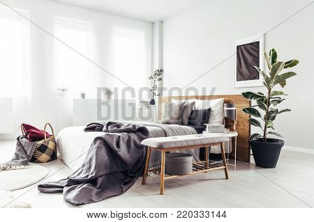 Spacious Bedroom With Silver Painting