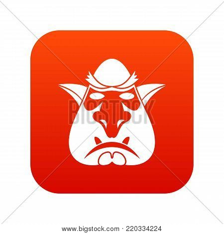 Head of troll icon digital red for any design isolated on white vector illustration
