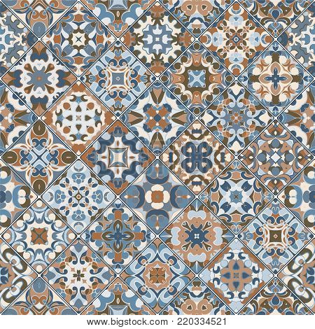 Brown and blue eastern patterns in the mosaic set. Square scraps in oriental style. Vector illustration. Ideal for printing on fabric or paper.