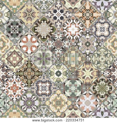Green ornamental patterns in the mosaic set. Square scraps in oriental style. Vector illustration. Ideal for printing on fabric or paper.