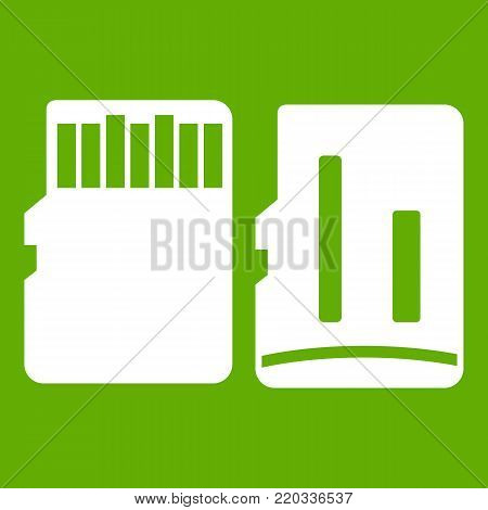 Both sides of SD memory card icon white isolated on green background. Vector illustration