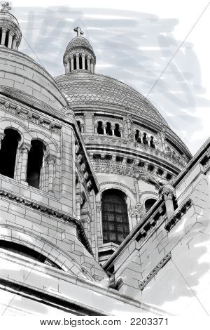 Sacre Coeur Iv Pen And Ink