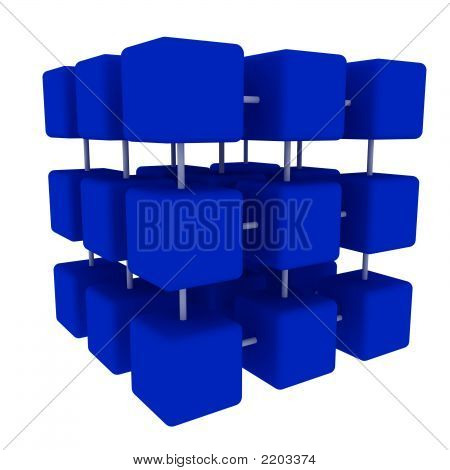 Blue Connected Cubes  Side
