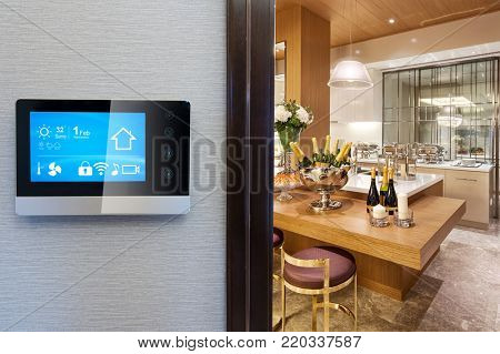 smart screen with smart home and modern staircase
